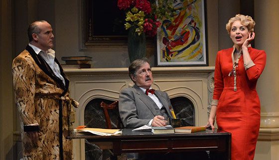 "Norm Boucher (as Harry Brock), Don Walker (as Sen. Hedges), Christina DeCicco (as Billie Dawn) in ""Born Yesterday"" at Asolo Repertory Theatre."